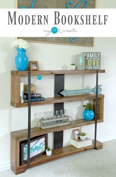 Rustic Industrial Narrow Bookshelf - My Repurposed Life® Rescue Re-imagine Repeat Diy Furniture Projects, Furniture Plans, Rustic Furniture, Furniture Makeover, Furniture Stores, Unique Furniture, Industrial Furniture, Furniture Design, Diy Projects