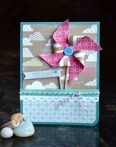 Pinwheels and pompoms: cards with The Story Begins | Scraptastic Club by DT @An ounce of creativity