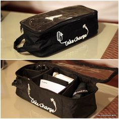 take charge of all those pesky wires and chargers with the take charge travel organizer...