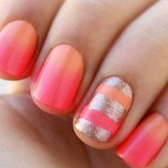 Peach and Coral Ombre Mani with Gold Shimmery Striped Accent Nail