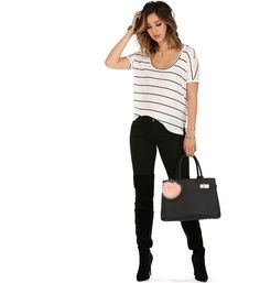 White Basic Stripe Out Top