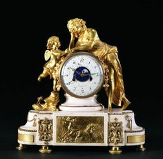 Pendule « L'Amour retrouvé » à quantièmes et phases de lune. Paris, époque Louis XVI