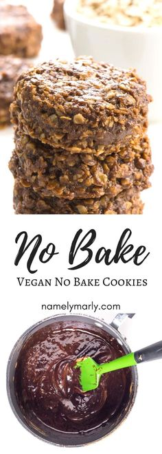 This is a vegan, low sugar take on the classic Chocolate No Bake Cookies. This r… This is a vegan, low sugar take on the classic Chocolate No Bake Cookies. This recipe requires only a few ingredients and is so easy to make. Loaded with peanut butter, oats Vegan Dessert Recipes, Easy Desserts, Baking Recipes, Cookie Recipes, Delicious Desserts, Dessert Food, Kitchen Recipes, Vegan No Bake Cookies, Chocolate No Bake Cookies