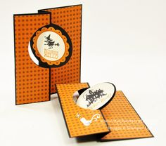 Angie has a video which shows how she trims the dsp mats. Her cute cards use Halloween Hello, Best of Halloween, Witches' Brew dsp, and the Circle Thinlits Card Die.