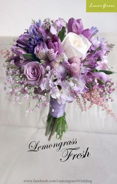 Prettiest spring wedding ideas---Laven / purple roses lilies tulips thistles wedding bouquets for a outdoor fresh wedding reception and ceremony. Purple Wedding Bouquets, Lilac Wedding, Bride Bouquets, Bridal Flowers, Flower Bouquet Wedding, Purple Flowers, Floral Wedding, Flower Bouquets, Boquette Wedding