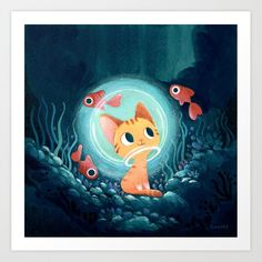 A lovely illustration featuring a ginger kitten surrounded by fishes. Art And Illustration, Illustrations, Cartoon Kunst, Cartoon Art, Wallpaper Kawaii, Arte Sketchbook, Fish Drawings, Ginger Cats, Ginger Kitten