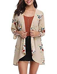 Abollria Women 3/4 Sleeve Floral Chiffon Casual Loose Kimono Cardigan Capes Chiffon Cardigan, Kimono Cardigan, Cardigan Fashion, Kimono Fashion, Kimono Top, Floral Chiffon, Cool Fabric, Fashion Boutique, Sweaters For Women