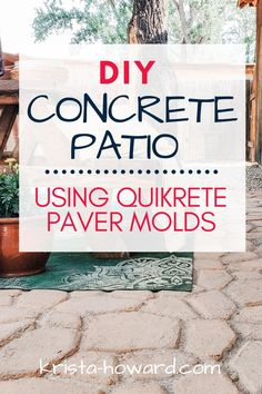 Learn how to DIY a concrete patio using Quikrete paver molds!  We are so pleased with how our patio turned out and can't wait for the warm summer nights outside with friends and family. Concrete Dye, Diy Concrete Patio, Diy Garden Projects, Cool Diy Projects, Garden Ideas, Concrete Crafts, Diy Outdoor Furniture, Building A Deck, Decks