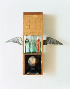 Robert Rauschenberg, Coca Cola Plan on ArtStack Robert Rauschenberg, Metal Wings, Coca Cola Bottles, Pop Art Movement, Art Students League, Birth And Death, Object Photography, Collage Artwork, Found Object Art