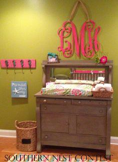 Large monogram wall decoration | baby nursery | baby girl room