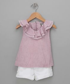 Petit Confection Red Seersucker Top & White Shorts - Toddler & Girls | zulily