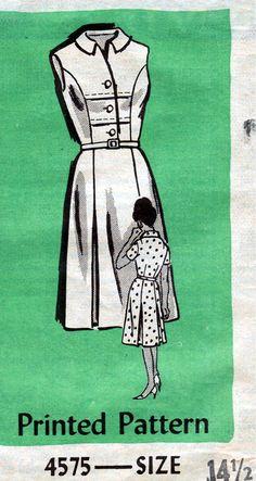 1950's Misses' Dress  Mail Order Pattern 4575  Size 14 1/2  Bust 35. $5.00, via Etsy.