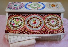 Handmade Mosaic vintage bread box revived with a mosaic of china plates and stained glass on Handmade Artists' Shop