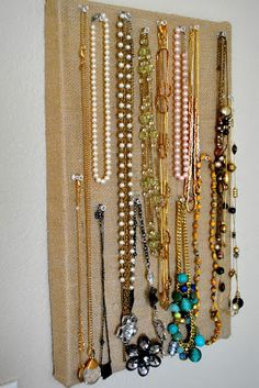 This clever DIY transforms an old shoebox into a jewelry board for hanging your favorite necklaces! From Home Awaits