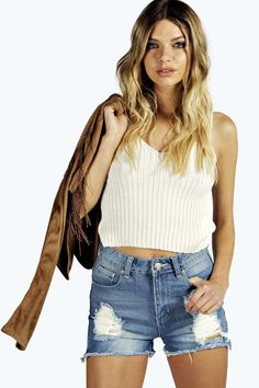 High Waisted Distressed Mom Shorts pale blue