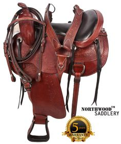 Be the envy of your friends on the trail and in the ring with this beautiful saddle. The saddle features a dark chocolate brown premium leather with the classic fern leaf and basket weave hand carved tooling. Brass fittings, rings and conchos, padded ergonomic stirrups . Saddle has loads of leather ties for convenience. This saddle also features our new high-tech shock-absorbing felt under the saddle to ensure a close contact fit, and both horse and rider comfort.