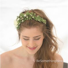 Wedding Woodland Fern and Flower Headband With Vintage Fern and... ($60) ❤ liked on Polyvore featuring accessories, hair accessories, headbands & turbans, silver, floral crown headband, vintage turban, leaf headband, floral garland and flower hair accessories