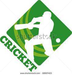 vector illustration of a cricket sports batsman silhouette batting - stock vector