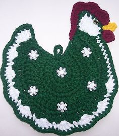 Crocheted ROOSTER / CHICKEN Potholder Made From Cotton Yarn