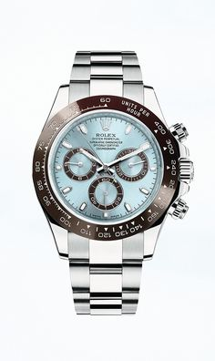 Rolex Cosmograph Daytona in 950 platinum with an ice blue dial and a brown monobloc Cerachrom bezel in ceramic.