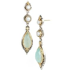 Konstantino 'Amphitrite' Pearl & Semiprecious Stone Drop Earrings ($1,835) ❤ liked on Polyvore featuring jewelry, earrings, handcrafted earrings, white pearl earrings, 18 karat gold earrings, pearl drop earrings and semi precious stone jewelry