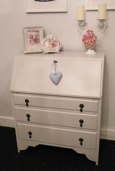 Shabby Chic Vintage Antique Solid Oak Writing bureau Painted in Farrow and ball | eBay