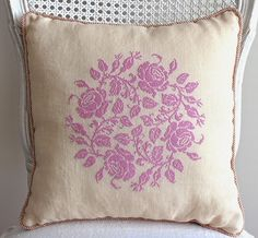 Shabby chic cross-stitch ~ French cross-stitch ~ orchid colored silk floss on ivory linen ~ shabby chic Darcy chair