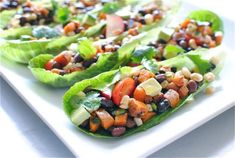 Vegetarian Mexican Salad Boats.  Or just leave out the boat and serve it as a nice hearty side...