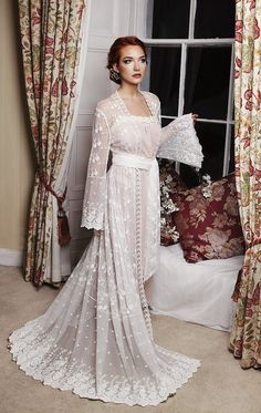Bridal robe ivory tulle embroidered floral lace Boudemia collection honeymoon trousseau vintage inspired wedding lingerie Gatsby 1920s Bridal Robes, Wedding Lingerie, Funeral, Floral Lace, Vintage Inspired, Tulle, Ivory, Bohemian, Gowns