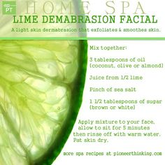 I love facials, in fact I have yet to find anything that beats experimenting with organic products in my own home. For even more great DIY home remedies, especially for oily skin, take a look at this post: http://www.skincarehq.org/articles/home-remedies-for-oily-skin  Skinny Diva Beauty: Lime Dermabrasion Spa Facial DIY Recipe