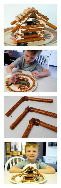 Building & construction for kids - build your own winter log cabin with pretzels!