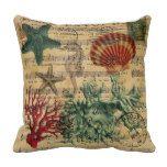 vintage ocean seashells coral beach fashion pillow