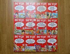 12 boeken van De Vijf met rode kaft. Enid Blyton