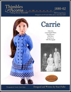 """PDF 2 Versions of Regency Dress Pattern For 16/"""" A Girl For All Time AGAT Dolls"""