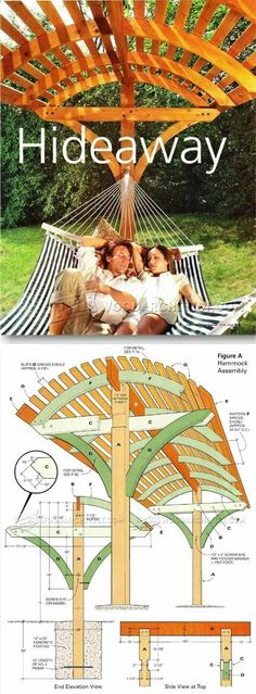 Overhead Shading Hammock Stand Plans - Outdoor Plans and Projects - Woodwork, Woodworking, Woodworking Plans, Woodworking Projects Backyard Projects, Outdoor Projects, Garden Projects, Home Projects, Woodworking Plans, Woodworking Projects, Woodworking Skills, Learn Woodworking, Woodworking Apron
