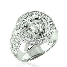 Versace Jewelry for Men | 14k Gold Diamond Men's Versace Ring 1.88 ctw.