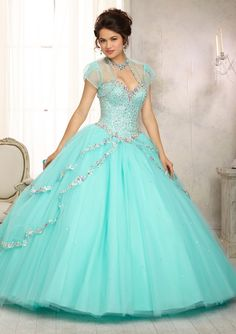quinceanera dress from Vizcaya by Mori Lee Dress Style 88091 Multi-Colored Jewel Beaded Bodice on a Tulle Ball Gown Skirt with a Sweep Train