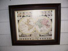 Vintage Framed WORLD MAP with ZODIAC   22.75 x 18.75 by LIZ404 on Etsy