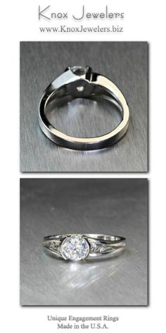 This is a stunningly elegant contemporary engagement ring design. The 0.75 carat round brilliant cut center diamond is set in a half bezel that stays low to the finger. The split shank band has delightful handmade filigree in the pockets. Some of the curls are shaped like small leaves and have diamonds set in them.