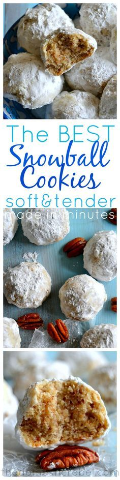 The BEST Snowball Cookie Recipe you'll find! Soft, tender, melt-in-your-mouth cookies are made in minutes and couldn't be simpler to make! Whether you call them Russian Tea Cakes, Mexican Wedding Cookies or Snowballs, these universally-pleasing cookies ar Crinkle Cookies, Snowball Cookies, Holiday Cookies, Owl Cookies, Köstliche Desserts, Delicious Desserts, Dessert Recipes, Tea Cakes, Holiday Baking