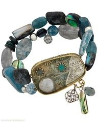 Stunning details on both sides. Quartzite, Larvikite, stabilized Turquoise, Shell, Pearl, Resin, Paper, Glass, Brass, Sterling Silver. $99.00 just click and order today....To see all the jewelry go to my website at www.silpada.com/coni.otto