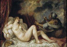 Titian - Danaë with Nursemaid or Danaë Receiving the Golden Rain - 129 cm × 180 cm. Museo del Prado, Madrid