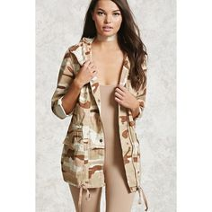 Forever21 Camo Print Utility Jacket ($35) ❤ liked on Polyvore featuring outerwear, jackets, camouflage jacket, drawstring jacket, forever 21 jackets, camo print jacket and cotton jacket