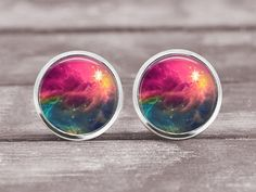 Post Earrings Jewelry  12mm Space Nebula 4 by MaDGreenCreations, $7.95