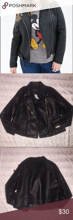 Forever 21 plus size Moto leather jacket. New with tags. Missing strap for bottom of jacket. If found will include. But does not affect the jacket at all. Very soft and thick leather. Forever 21 Jackets & Coats