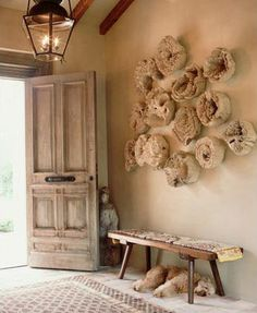 huge fabric flowers on the wall!