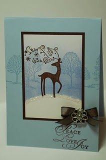 Dasher & Lovely as a Tree - Stampin' Up! I like how the background stamp goes across all layers
