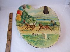 Huntley Palmers Artist Palette Figural Biscuit Tin C1900s