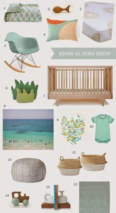 Modern Sea Nursery Inspiration Board | Sweet Little Nursery | Bloglovin'