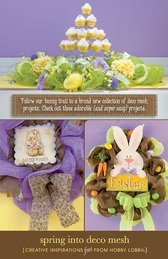 HobbyLobby Projects - Spring Into Deco Mesh Easter Wreaths, Holiday Wreaths, Holiday Crafts, Easter Crafts, Fun Crafts, Easter Decor, Easter Ideas, Deco Mesh Crafts, Deco Mesh Wreaths